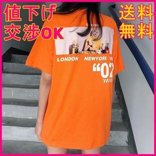 【送料無料】韓国ファッション ビッグシルエット プリント Tシャツ オレンジ(Tシャツ(半袖/袖なし))