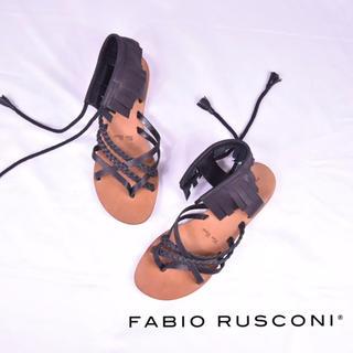 ファビオルスコーニ(FABIO RUSCONI)のファビオルスコーニ  フリンジ サンダル 本革 Vero Cuoio 刻印 37(サンダル)