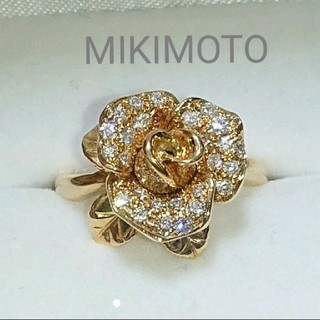 MIKIMOTO - MIKIMOTO ダイヤモンド リング フラワー ダイヤ k18 ミキモト 薔薇