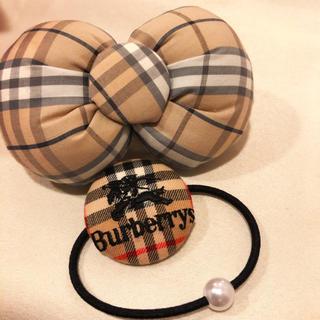 バーバリー(BURBERRY)のBurberry ロゴ付きゴム&バレッタ ハンドメイド(ヘアアクセサリー)