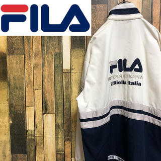 FILA - 【激レア】フィラFILA☆刺繍ビッグロゴテープロゴラインポリ綿ジャケット 90s