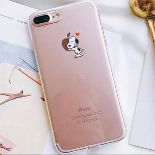 スヌーピー(SNOOPY)の◆再入荷◆iPhoneケース スヌーピー クリアケース ❤︎りんごハグ❤︎ 新品(iPhoneケース)