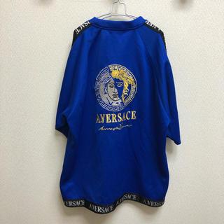 良品 90s A.VERSACE 刺繍ロゴ Tシャツ M 袖ライン(Tシャツ/カットソー(半袖/袖なし))
