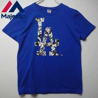マッドフット(MAD FOOT)の【美品】 Majestic 南国柄 デカロゴ Tシャツ N277(Tシャツ/カットソー(半袖/袖なし))