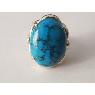 K18 トルコ石デザインリング  指輪(リング(指輪))