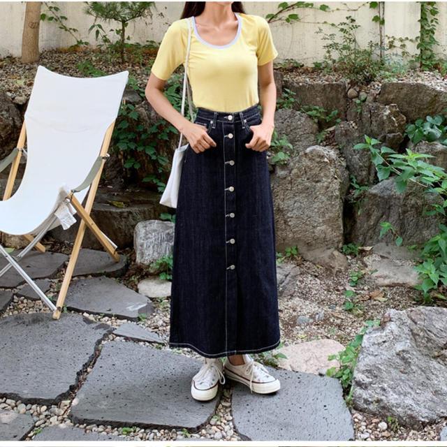 GU(ジーユー)のフロントボタン マキシスカート デニムスカート レディースのスカート(ロングスカート)の商品写真