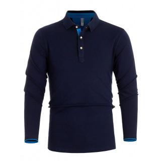 ポロシャツ 長袖 メンズ スティッチング スポーツ 綿 ゴルフウェア(ポロシャツ)