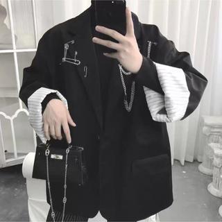 韓国ファッション テーラードジャケット ブラック モード系 韓国ブランド