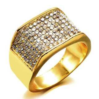 ジルコニア ゴールド リング 24号 メンズ ブリンブリン ヒップホップ(リング(指輪))