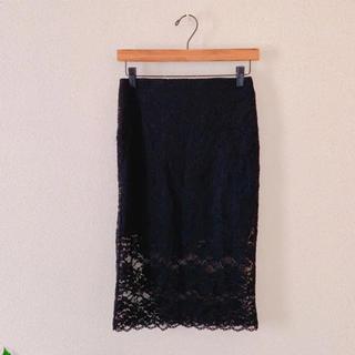 ZARA - ZARA ザラ レースタイトスカート ブラック 黒