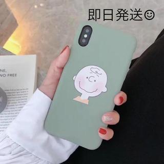 スヌーピー(SNOOPY)の即日発送♡ スヌーピー チャーリーブラウン iPhoneケース グリーン(iPhoneケース)