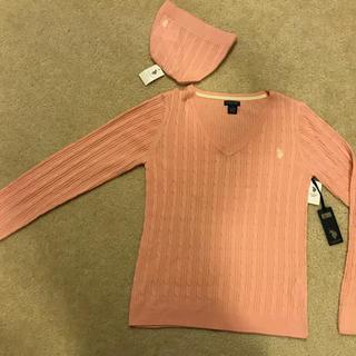 U.S. Polo Assen ピンク ニットセーター ニット帽付き タグ付き(ニット/セーター)