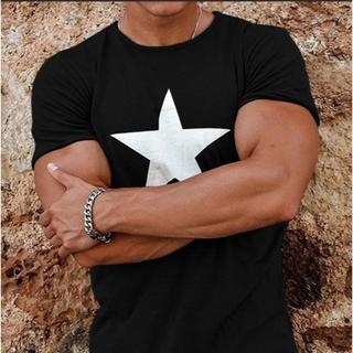 メンズ Tシャツ M かっこいい スター グレー 半袖(Tシャツ/カットソー(半袖/袖なし))