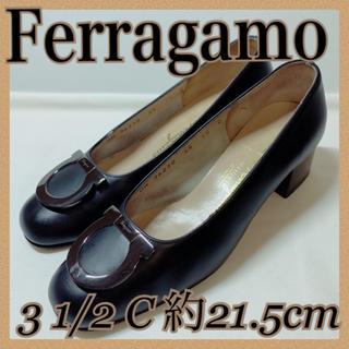 サルヴァトーレフェラガモ(Salvatore Ferragamo)の美品 Ferragamo フェラガモ パンプス ブラック 約21.5cm(ハイヒール/パンプス)