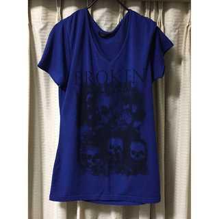 【美品】ブルー ドクロ Tシャツ M スカル メンズ(Tシャツ/カットソー(半袖/袖なし))