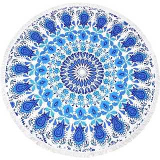 ラウンドビーチタオル 100%マイクロファイバー (ブルー Mandala)
