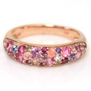ビズー新品桜色マルチカラージュエル18Kピンクゴールドサクラブーケパヴェリング(リング(指輪))