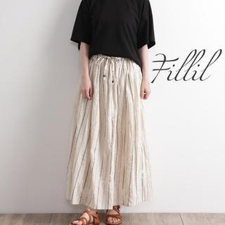メルロー(merlot)の残り1点‼️新品✨ 花刺繍 × ストライプ インド綿 ギャザー スカート(ロングスカート)