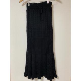 シマムラ(しまむら)のしまむら 鍵編みニットロングスカート ブラック M(ロングスカート)