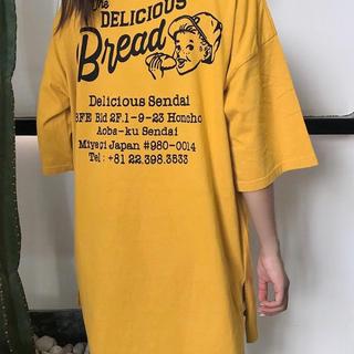 0722 オーバーサイズTシャツ ビッグシルエットフリーサイズ ボーイプリント(Tシャツ/カットソー(半袖/袖なし))
