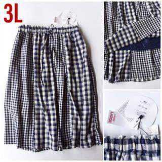 しまむら - 【新品】ギンガムチェックのパネルギャザースカート ロング丈 3L