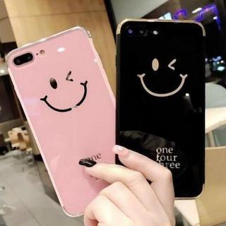 iPhone 6/6s ケース ウィンク スマイリー フェイス メッキ ピンク
