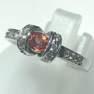 希少! K18wg 18金  パパラチアサファイア ダイヤモンド リング 指輪(リング(指輪))