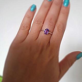アメジスト 天然石 紫水晶  パワーストーン 一粒 リング(リング(指輪))
