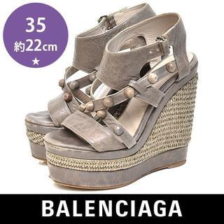 バレンシアガ(Balenciaga)のバレンシアガ スタッズ ウェッジソール サンダル 35(約22cm)(サンダル)