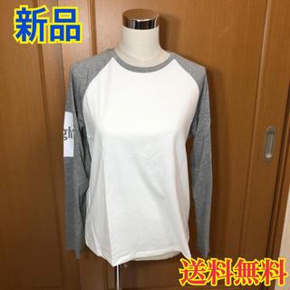 【新品】ガーリードール  レディース  長袖  Tシャツ  ホワイト グレー L(シャツ/ブラウス(長袖/七分))