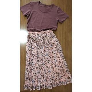 GU - お値下げ【新品】花柄プリーツスカート & カットソー