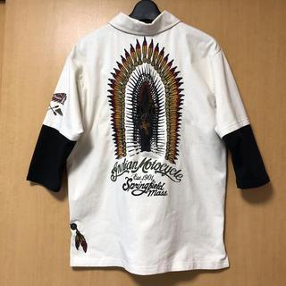 インディアン(Indian)のINDIAN MOTOCYCLE 刺繍 七分袖ポロシャツ(ポロシャツ)