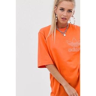 adidas - adidas originals  オレンジ  デカT