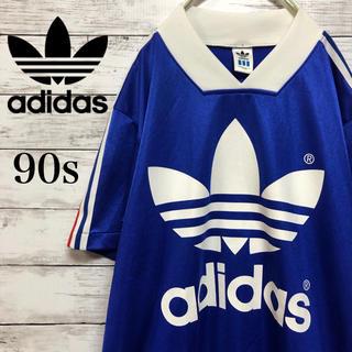 アディダス(adidas)の【でかロゴ】90s 古着 adidas アディダス スポーツシャツ Mサイズ(Tシャツ/カットソー(半袖/袖なし))