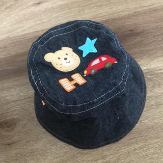 mikihouse - ミキハウス デニム風帽子 リバーシブル uv対策