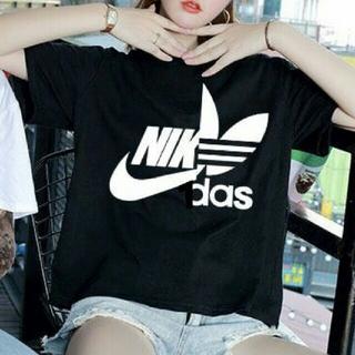 adidas - おもしろTシャツ ナキダス ビックTシャツ ブラック L