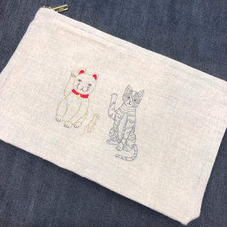 H.P.FRANCE - coral&tusk♡ポーチ Lucky Cats 招き猫♡コーラルアンドタスク