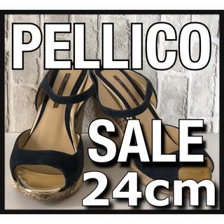 PELLICO - 美品 PELLICO ペリーコ ヒールサンダル 24cm  ブラック パイソン