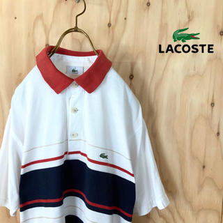LACOSTE - 90's LACOSTE  マルチカラーボーダー  ポロシャツ NV RD wh