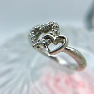 K18WG  ダイヤモンド ハートモチーフリング 8.5号 19-4358(リング(指輪))