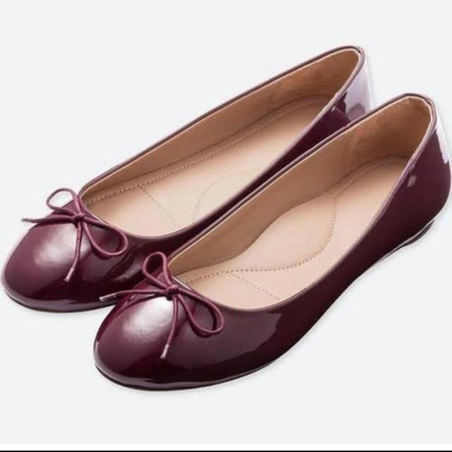 dholic(ディーホリック)のUNIQLO バレエシューズ エナメル ワインレッド レディースの靴/シューズ(バレエシューズ)の商品写真