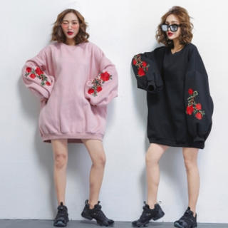 GRL - 薔薇 刺繍 スウェット