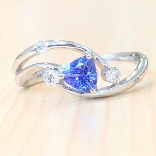 ✨トリリアント✨タンザナイト❣️ダイヤモンド ダイヤ K18WG リング 指輪
