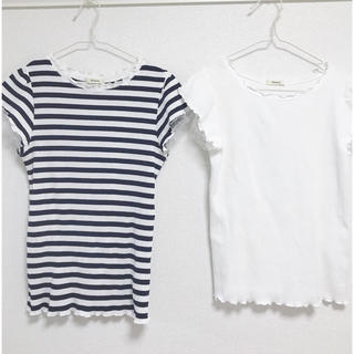 シマムラ(しまむら)の2枚セット 袖レース リブ メローTシャツ(Tシャツ(半袖/袖なし))