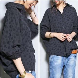 antiqua - アンティカ ドットシャツ 黒×黒ドット