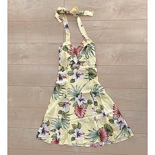ハワイ ワンピース  ホルターネック ドレス(ミニドレス)