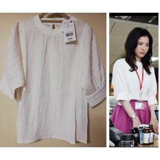 ViS - ドラマ着用★ ViS ボリューム袖ブラウス ホワイト