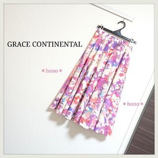 GRACE CONTINENTAL - GRACE CONTINENTAL*ペイントフラワースカート