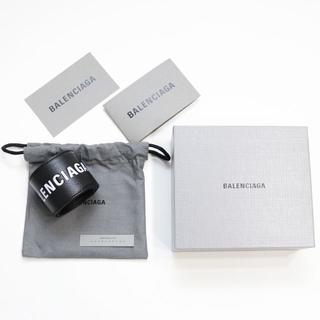 バレンシアガ(Balenciaga)の新品 バレンシアガ ロゴ ブレスレット レザー バングル リストバンド ブラック(ブレスレット/バングル)