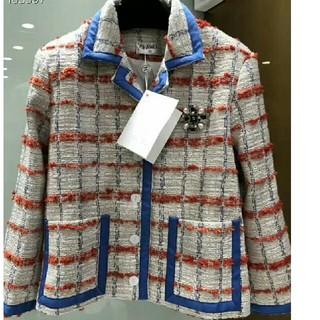 CHANEL - 秋冬格子コート ブルー Chanel シャネル 簡潔で気前がよい!